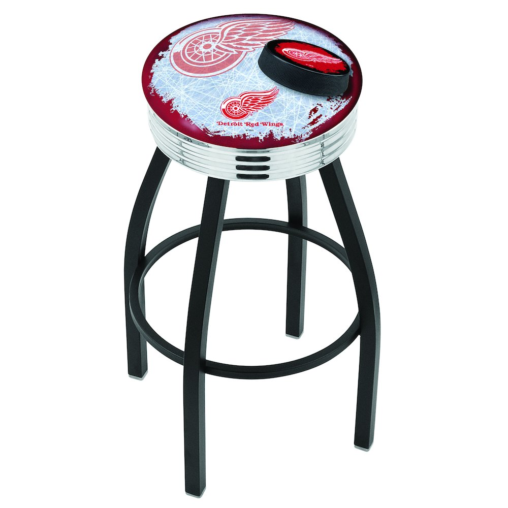 30 L8b3c Black Wrinkle Detroit Red Wings Swivel Bar Stool With Chrome 2 5 Ribbed Accent Ring