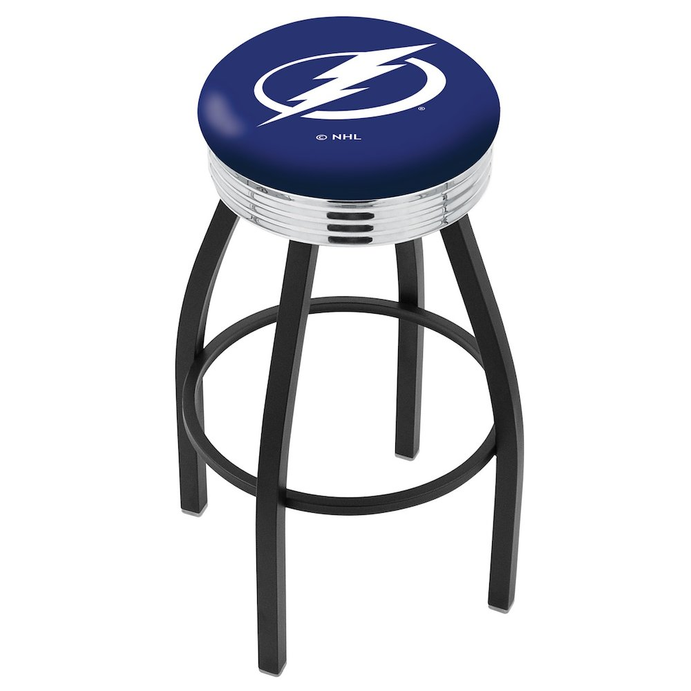 """25"""" L8B3C - Black Wrinkle Tampa Bay Lightning Swivel Bar Stool with Chrome 2.5"""" Ribbed Accent Ring by Holland Bar Stool Company. Picture 1"""