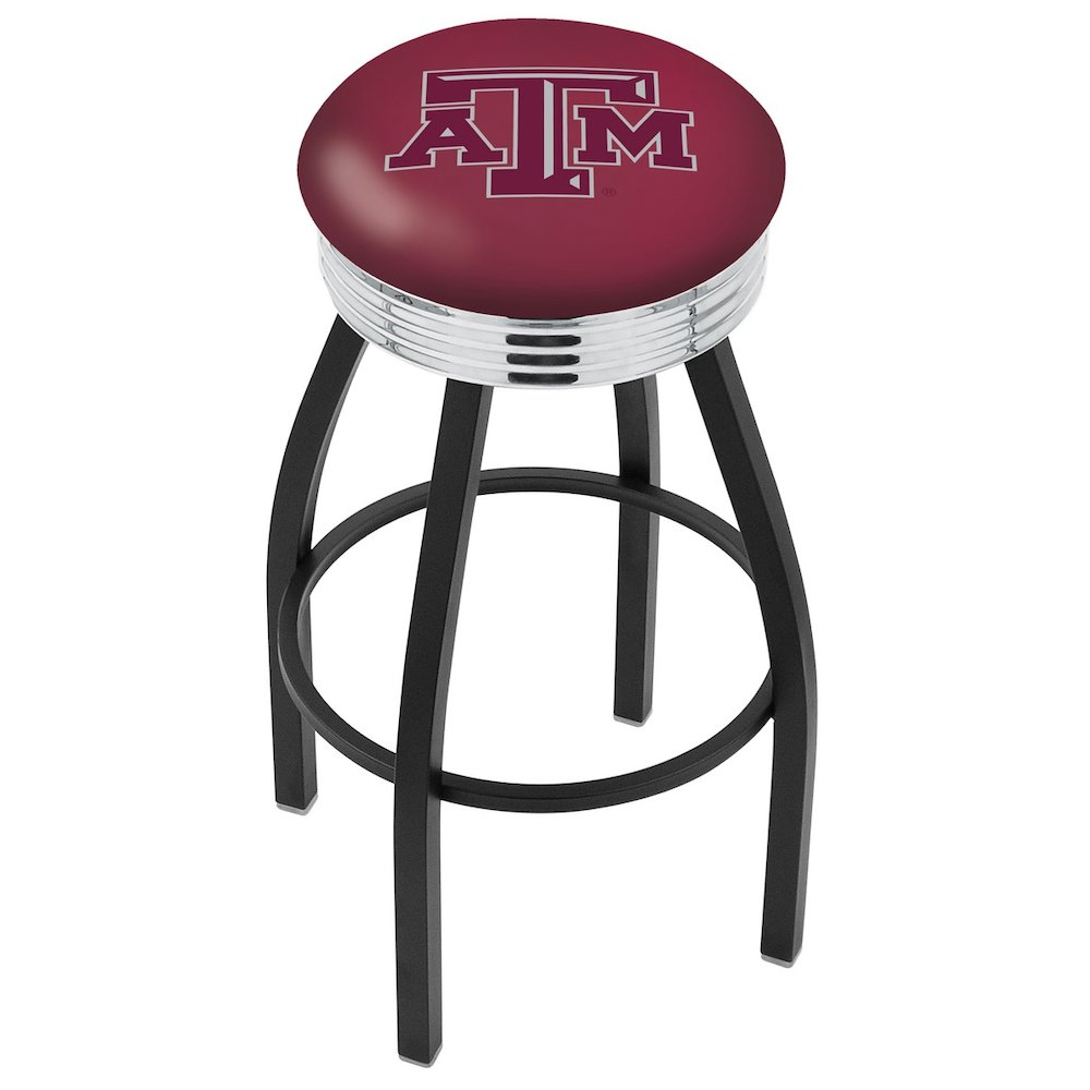 "25"" L8B3C - Black Wrinkle Texas A&M Swivel Bar Stool with Chrome 2.5"" Ribbed Accent Ring by Holland Bar Stool Company. Picture 1"