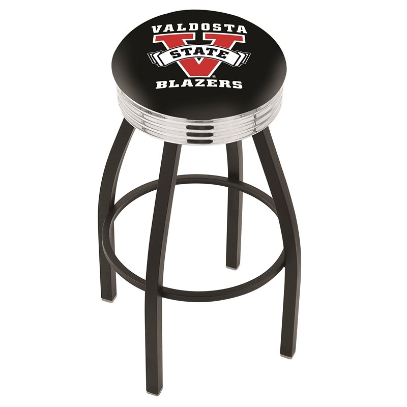 """30"""" L8B3C - Black Wrinkle Valdosta State Swivel Bar Stool with Chrome 2.5"""" Ribbed Accent Ring by Holland Bar Stool Company. Picture 1"""