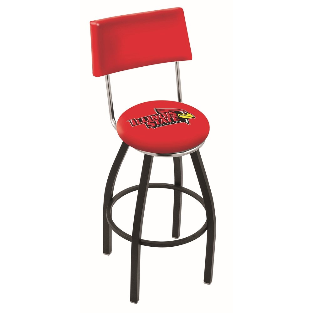 """30"""" L8B4 - Black Wrinkle Illinois State Swivel Bar Stool with a Back by Holland Bar Stool Company. Picture 1"""
