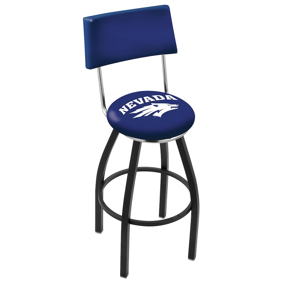 "25"" L8B4 - Black Wrinkle Nevada Swivel Bar Stool with a Back by Holland Bar Stool Company. Picture 1"