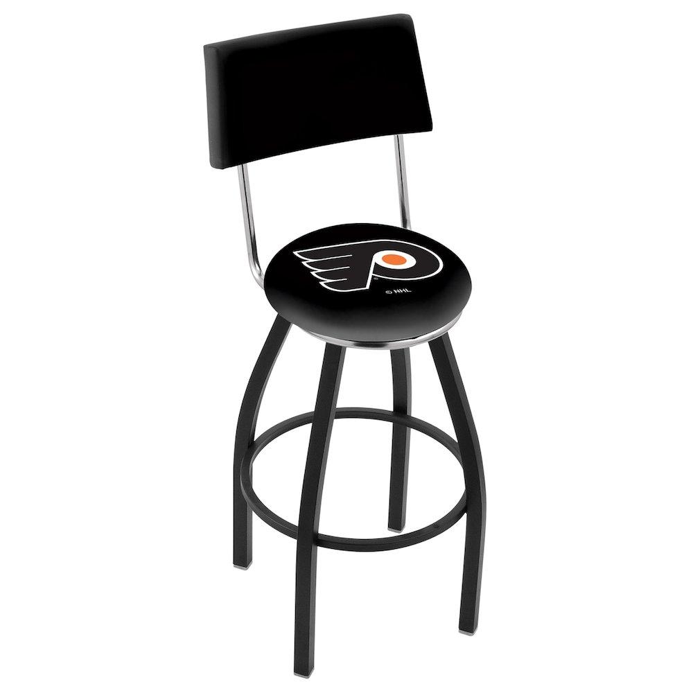 30 L8b4 Black Wrinkle Philadelphia Flyers Swivel Bar Stool With A Back By Holland Company