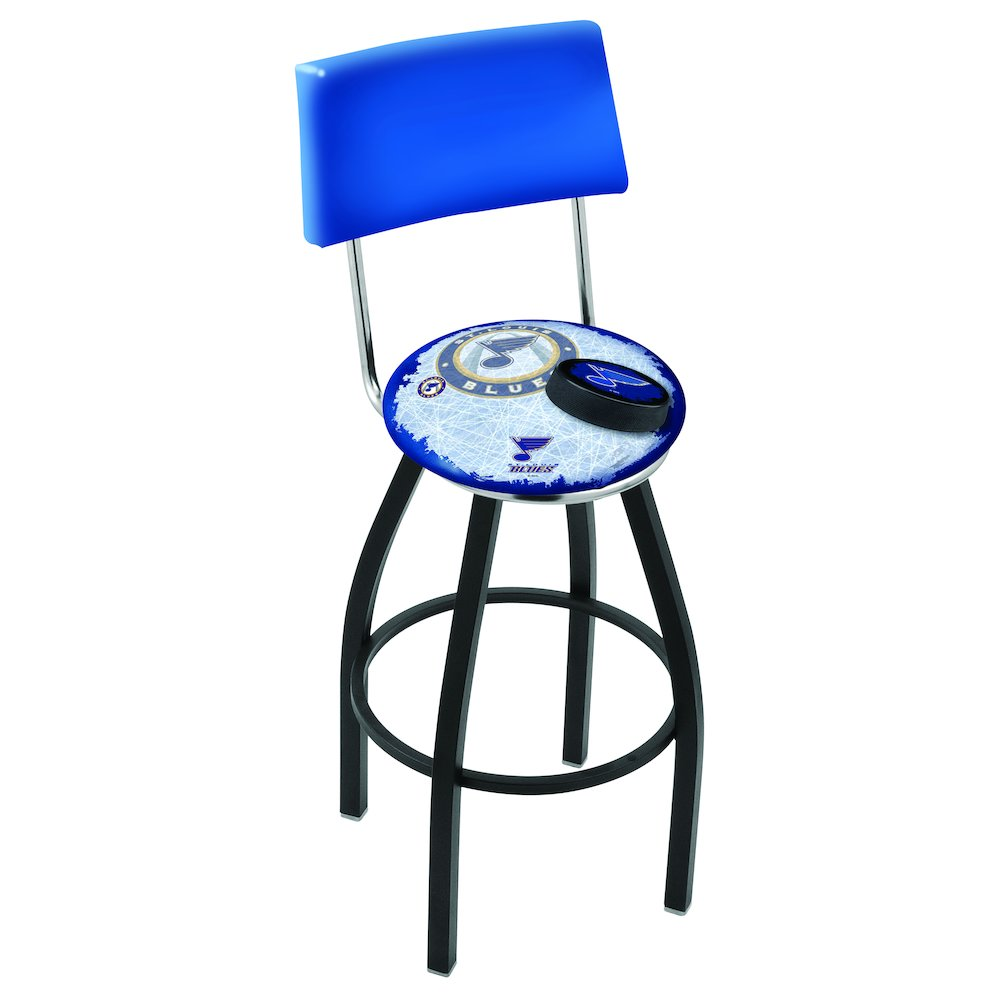 30 L8b4 Black Wrinkle St Louis Blues Swivel Bar Stool With A Back By Holland