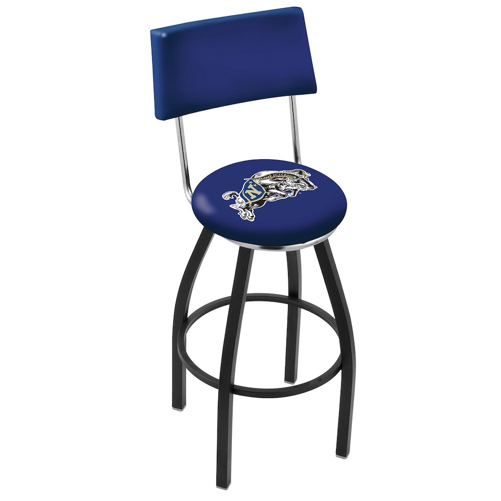 "25"" L8B4 - Black Wrinkle US Naval Academy (NAVY) Swivel Bar Stool with a Back by Holland Bar Stool Company. Picture 1"