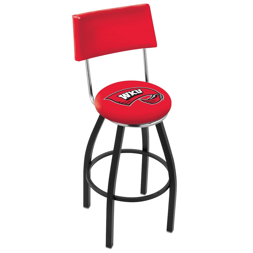 """30"""" L8B4 - Black Wrinkle Western Kentucky Swivel Bar Stool with a Back by Holland Bar Stool Company. Picture 1"""