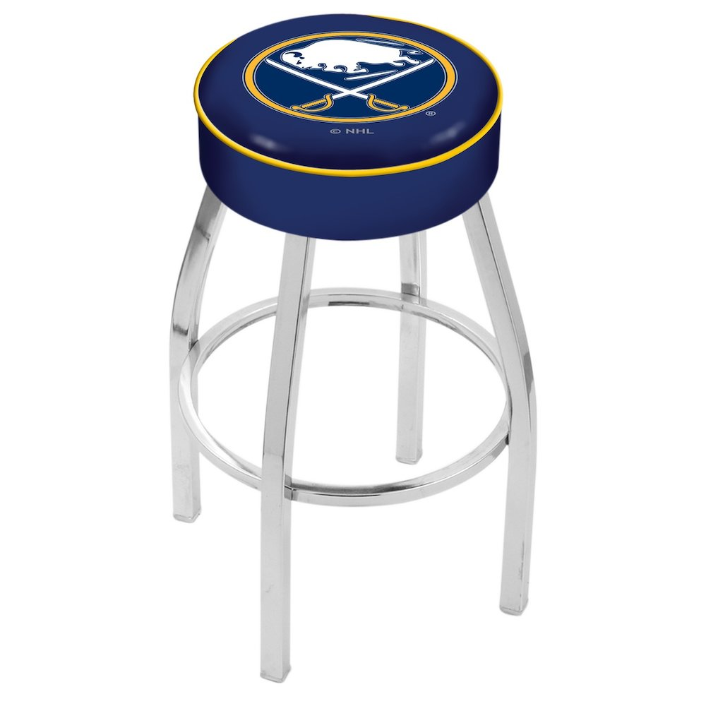"""25"""" L8C1 - 4"""" Buffalo Sabres Cushion Seat with Chrome Base Swivel Bar Stool by Holland Bar Stool Company. Picture 1"""