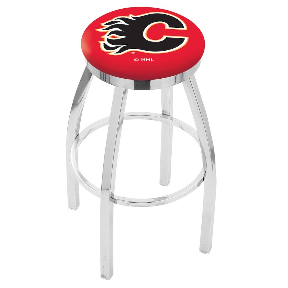 """30"""" L8C2C - Chrome Calgary Flames Swivel Bar Stool with Accent Ring by Holland Bar Stool Company. Picture 1"""