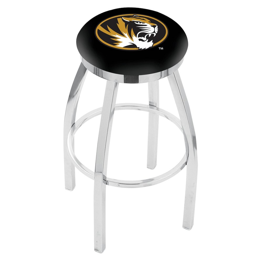 """25"""" L8C2C - Chrome Missouri Swivel Bar Stool with Accent Ring by Holland Bar Stool Company. Picture 1"""
