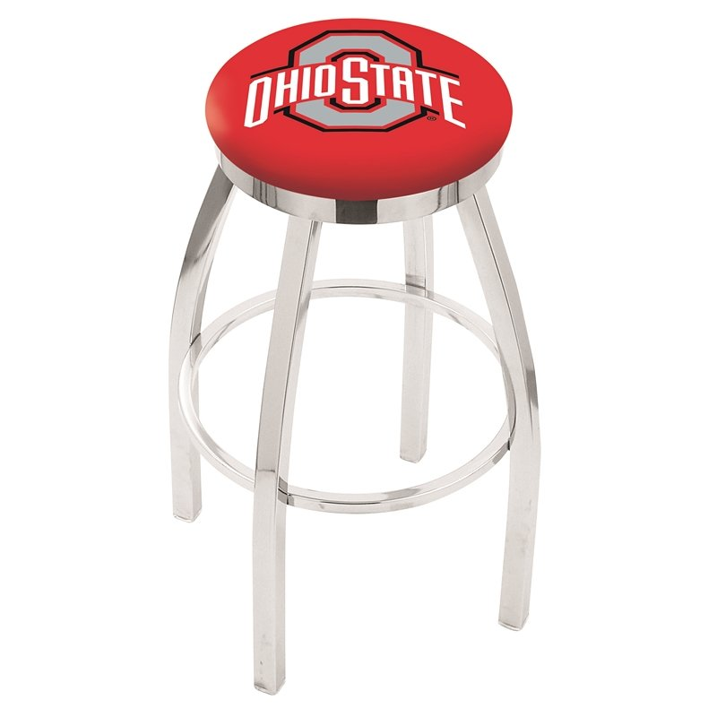 """36"""" L8C2C - Chrome Ohio State Swivel Bar Stool with Accent Ring by Holland Bar Stool Company. Picture 1"""