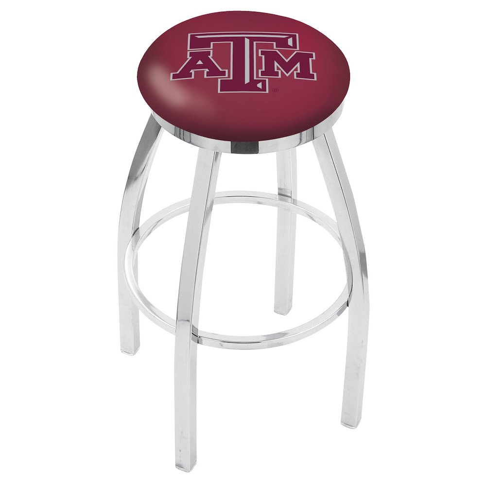 "36"" L8C2C - Chrome Texas A&M Swivel Bar Stool with Accent Ring by Holland Bar Stool Company. Picture 1"