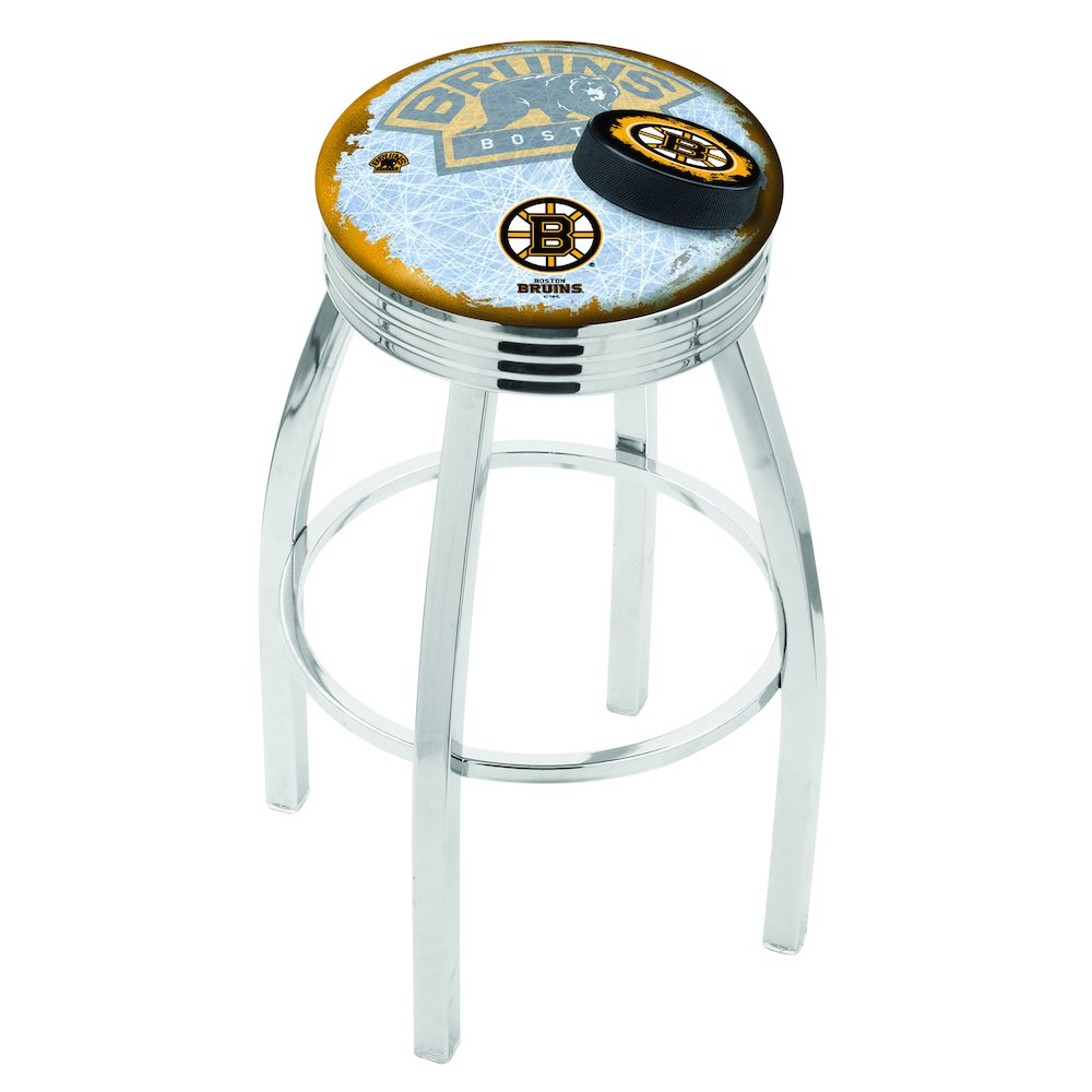 30 L8c3c Chrome Boston Bruins Swivel Bar Stool With 2 5 Ribbed Accent Ring By Holland Bar Stool Company