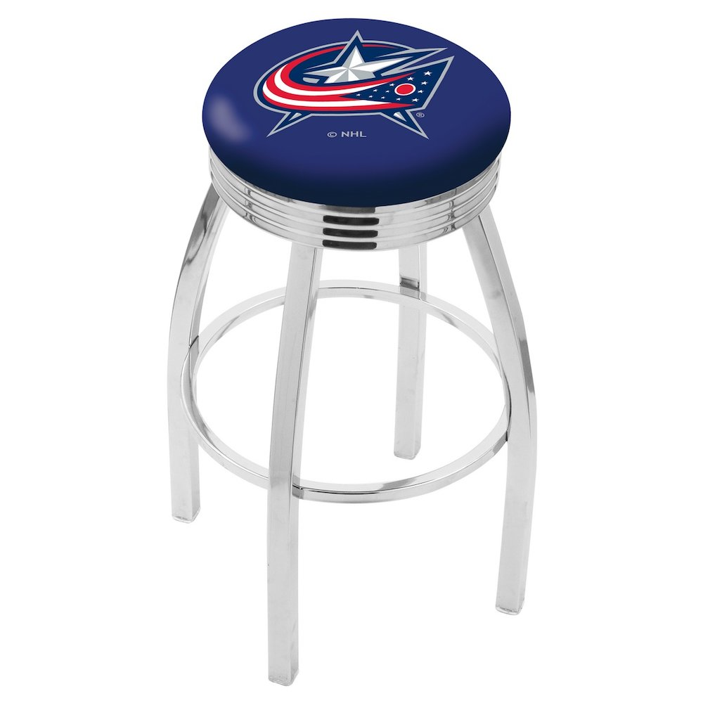 """25"""" L8C3C - Chrome Columbus Blue Jackets Swivel Bar Stool with 2.5"""" Ribbed Accent Ring by Holland Bar Stool Company. Picture 1"""