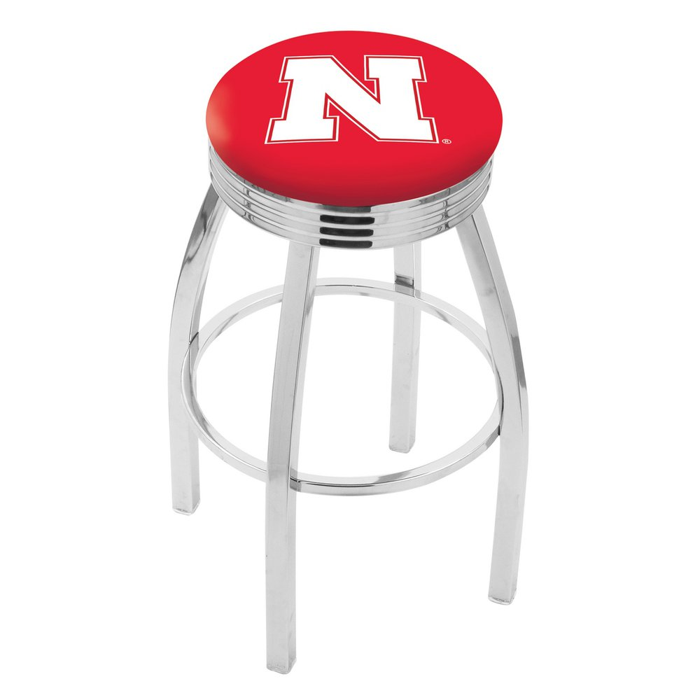 """30"""" L8C3C - Chrome Nebraska Swivel Bar Stool with 2.5"""" Ribbed Accent Ring by Holland Bar Stool Company. Picture 1"""