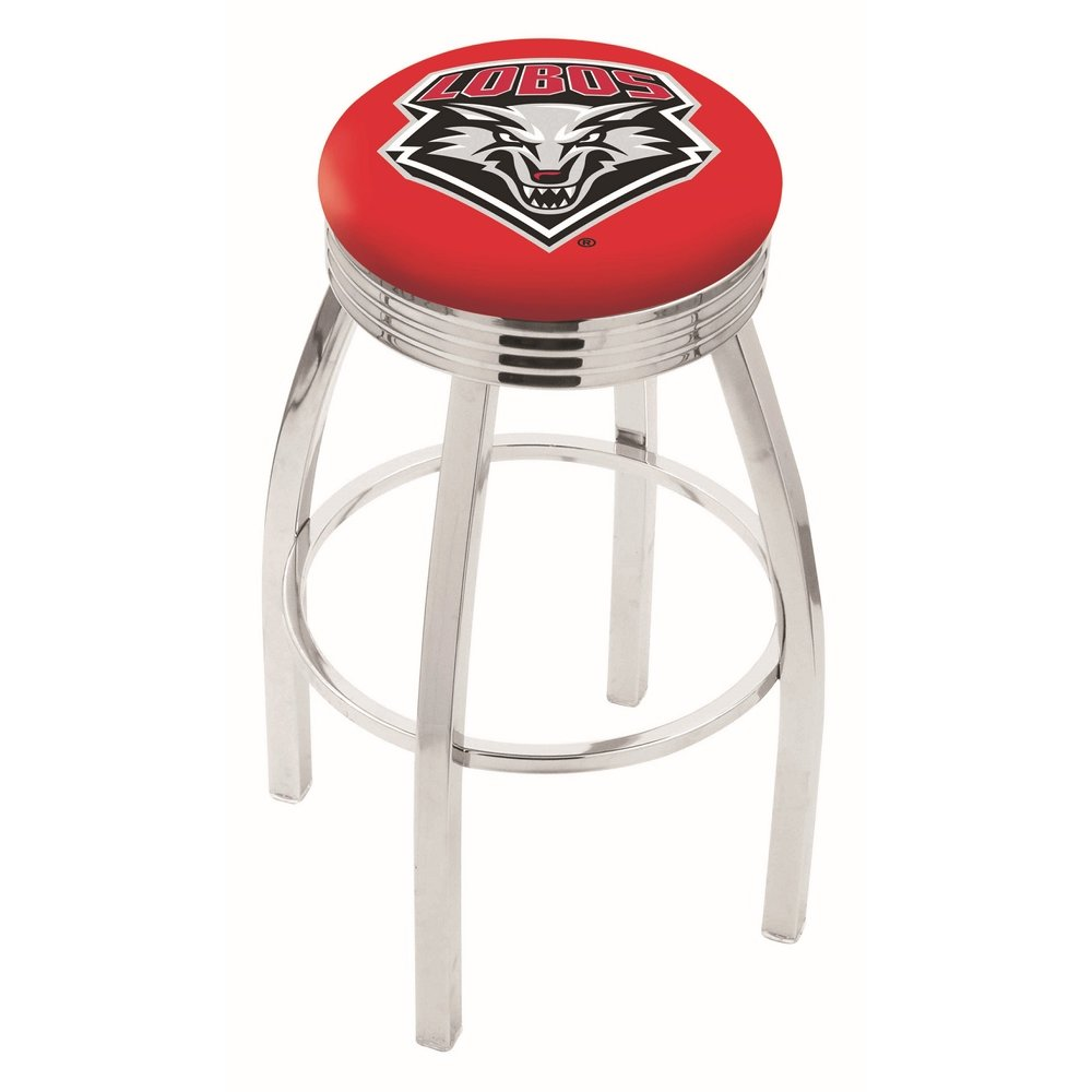 """30"""" L8C3C - Chrome New Mexico Swivel Bar Stool with 2.5"""" Ribbed Accent Ring by Holland Bar Stool Company. Picture 1"""