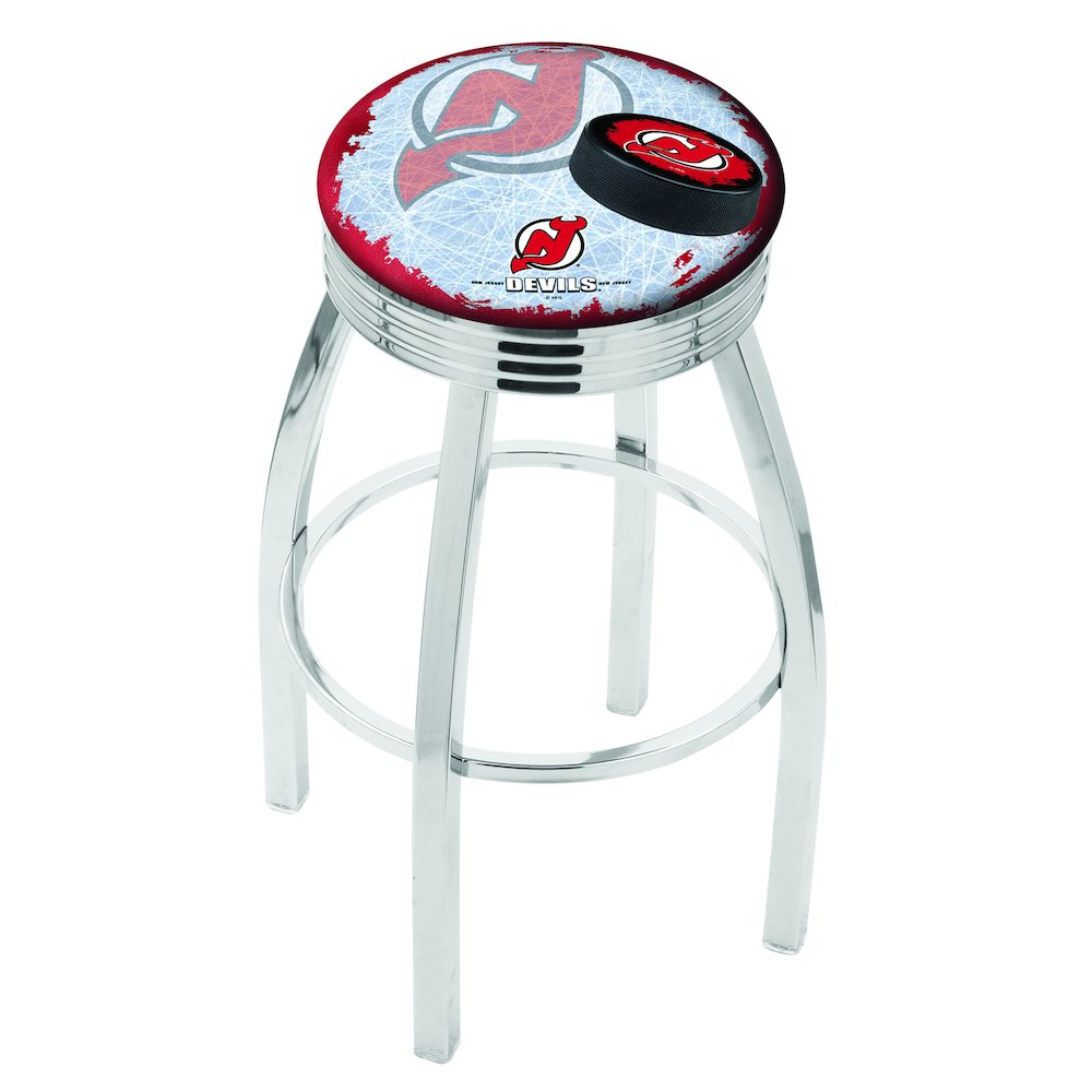 25 Quot L8c3c Chrome New Jersey Devils Swivel Bar Stool With