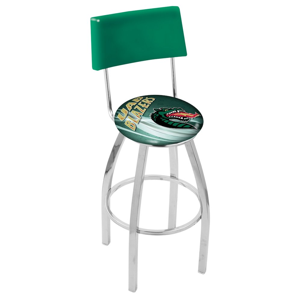 30 Quot L8c4 Chrome Uab Swivel Bar Stool With A Back By