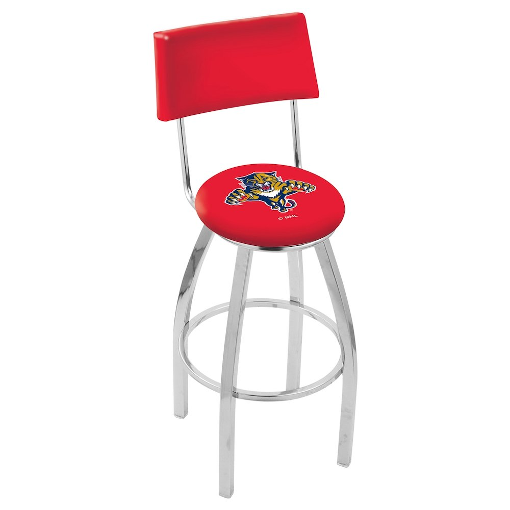 """30"""" L8C4 - Chrome Florida Panthers Swivel Bar Stool with a Back by Holland Bar Stool Company. Picture 1"""