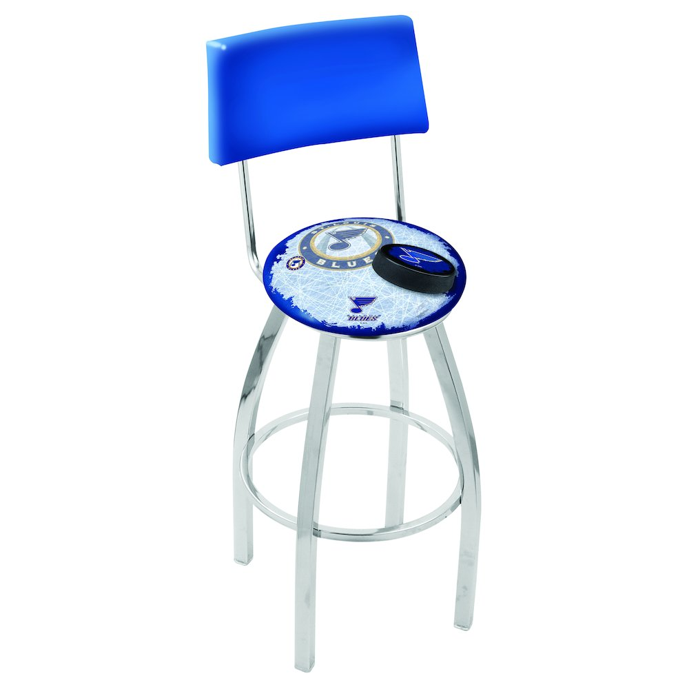 30 L8c4 Chrome St Louis Blues Swivel Bar Stool With A Back By Holland Company