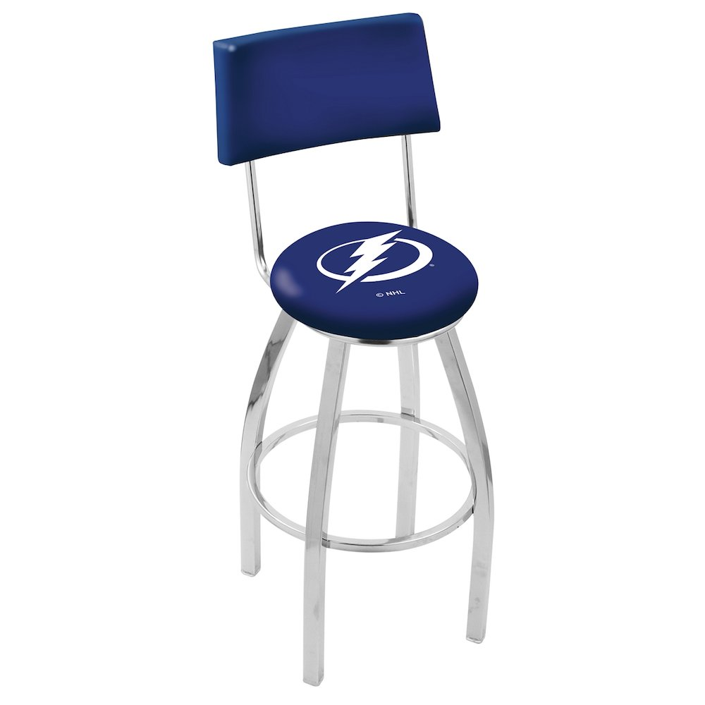 "25"" L8C4 - Chrome Tampa Bay Lightning Swivel Bar Stool with a Back by Holland Bar Stool Company. Picture 1"