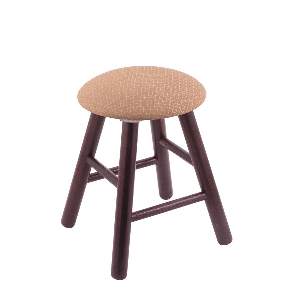 Oak Round Cushion Vanity Stool With Smooth Legs Dark