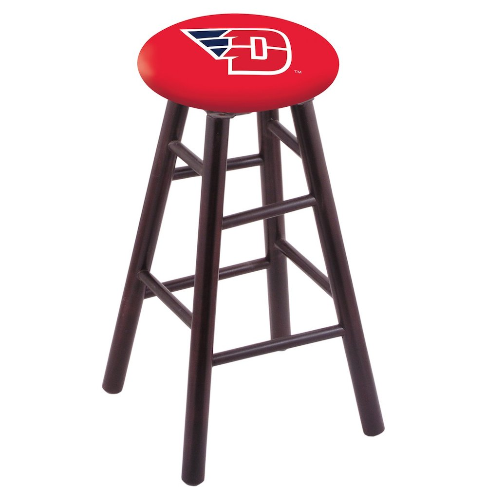 Maple Bar Stool in Dark Cherry Finish with University of Dayton Seat. Picture 1
