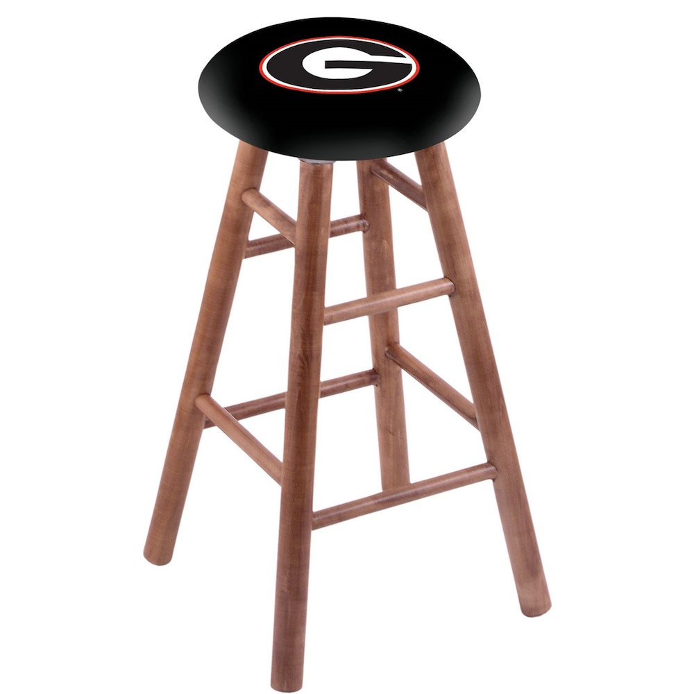 """Maple Counter Stool in Medium Finish with Georgia """"G"""" Seat. Picture 1"""