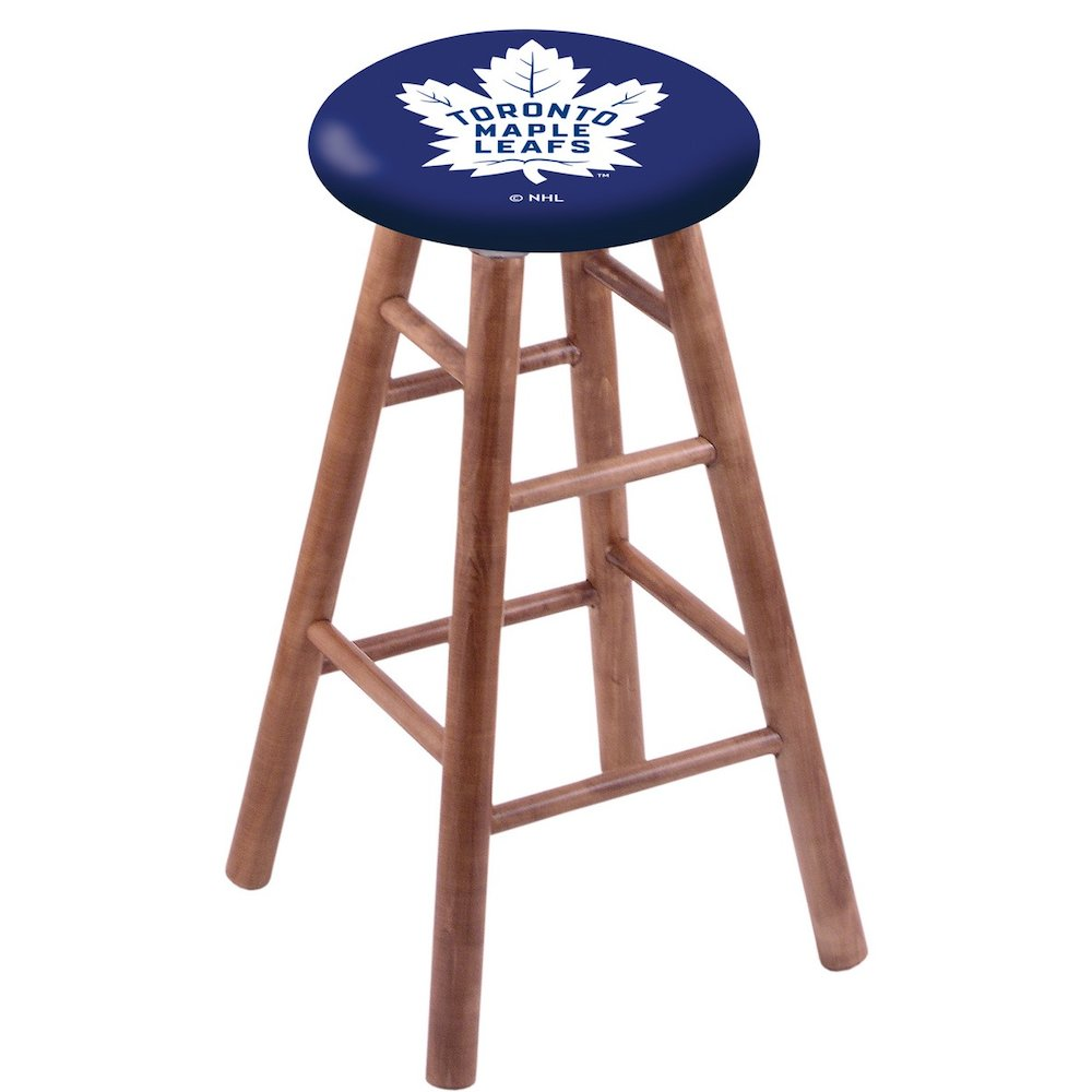 Maple Extra Tall Bar Stool in Medium Finish with Toronto Maple Leafs Seat. Picture 1