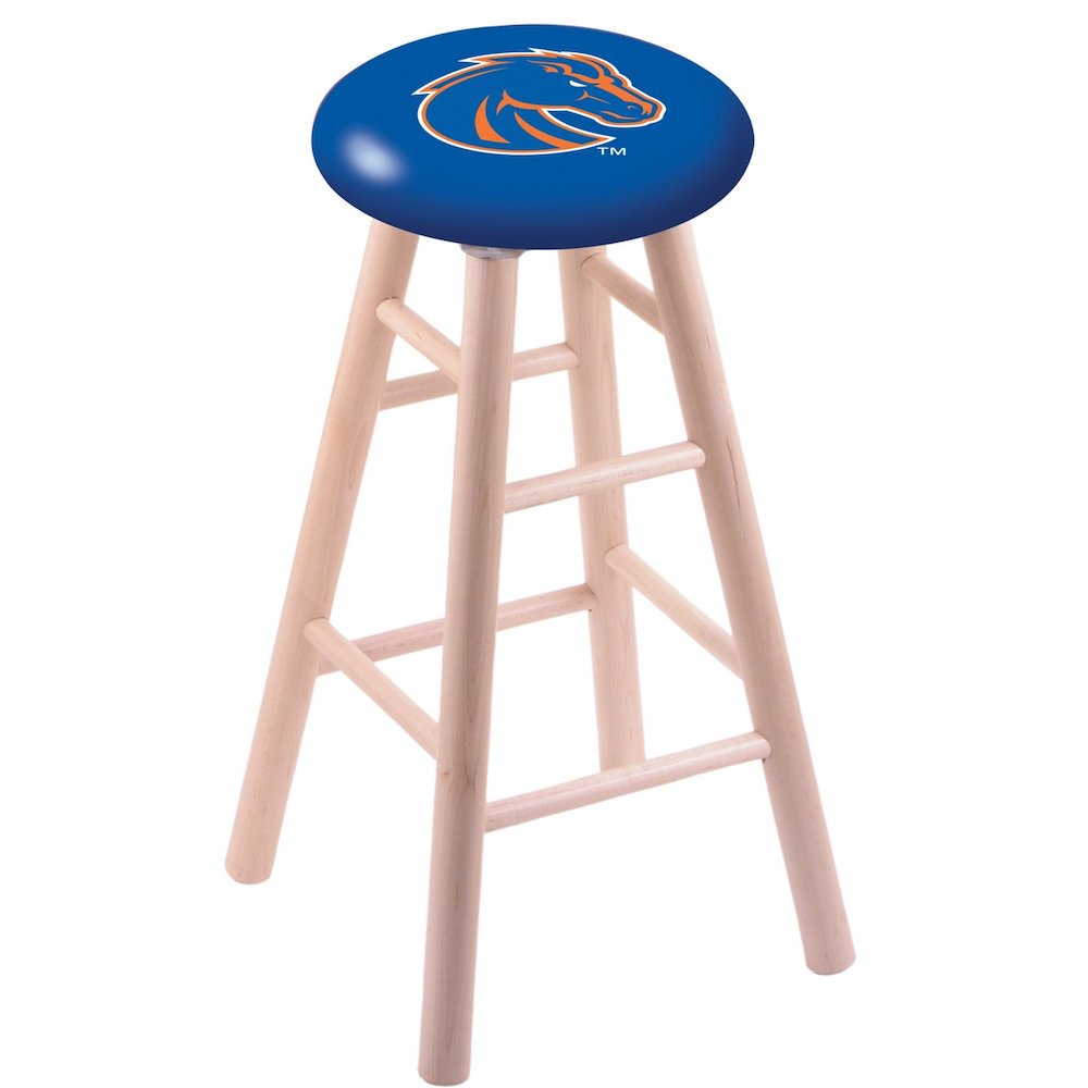 Maple Vanity Stool in Natural Finish with Boise State Seat. Picture 1