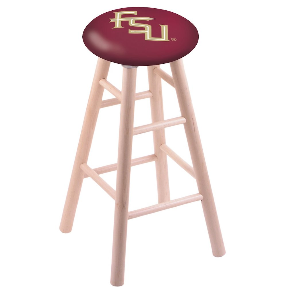 Maple Vanity Stool in Natural Finish with Florida State (Script) Seat. Picture 1