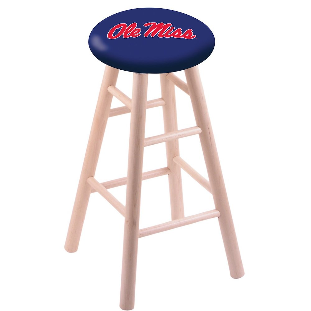 Maple Counter Stool in Natural Finish with Ole' Miss Seat. Picture 1