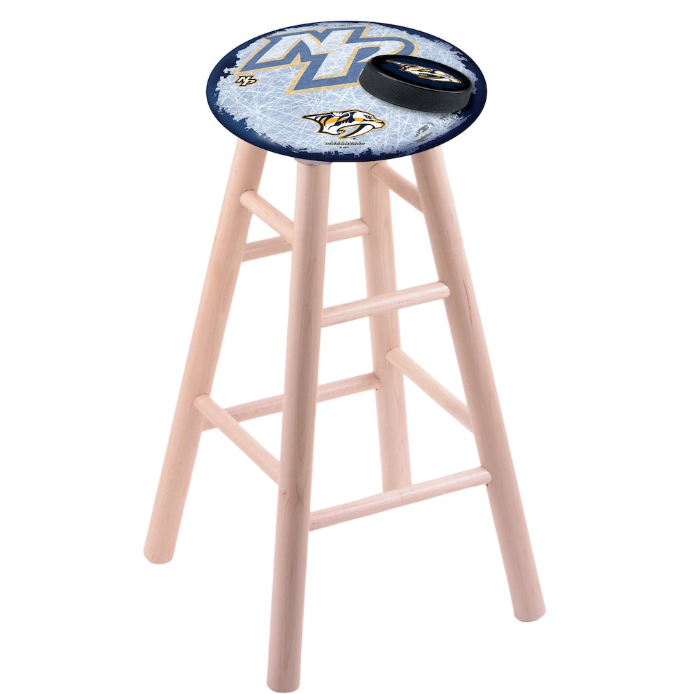 Maple Vanity Stool in Natural Finish with Nashville Predators Seat. Picture 1