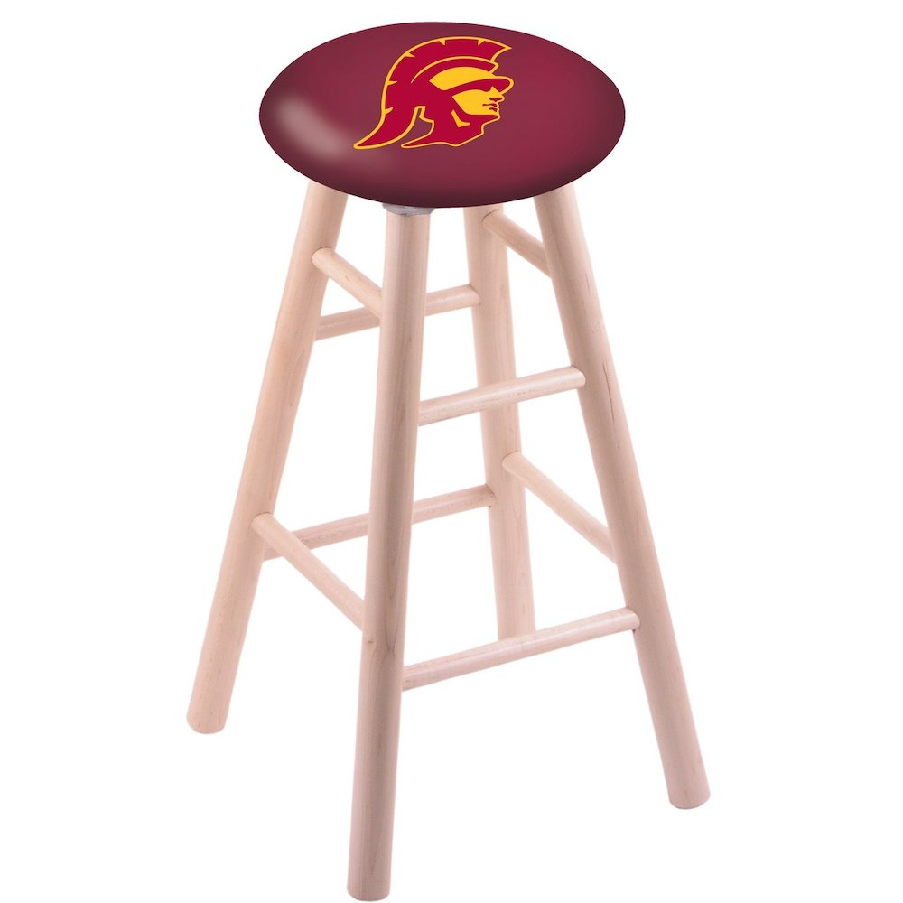 Maple Vanity Stool in Natural Finish with USC Trojans Seat. Picture 1
