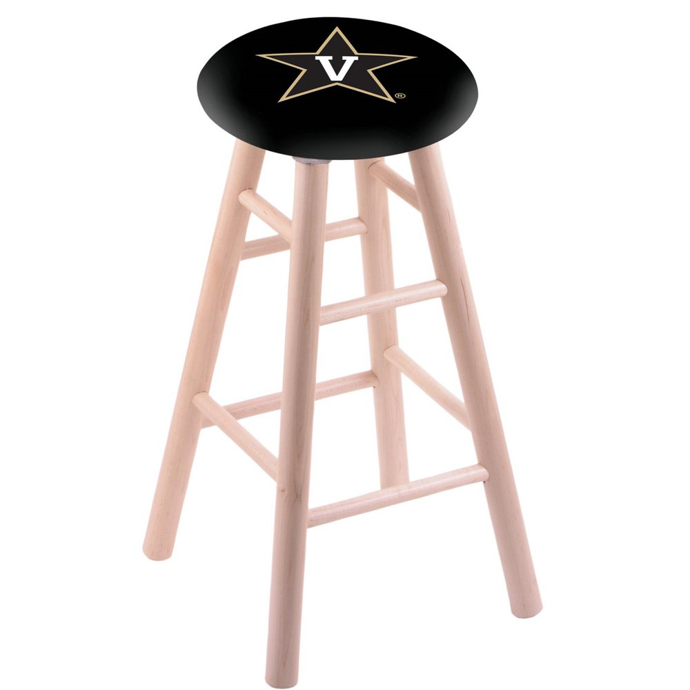 Maple Vanity Stool in Natural Finish with Vanderbilt Seat. Picture 1