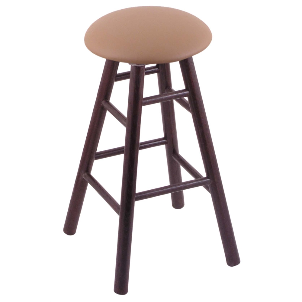 Oak Round Cushion Extra Tall Bar Stool With Smooth Legs