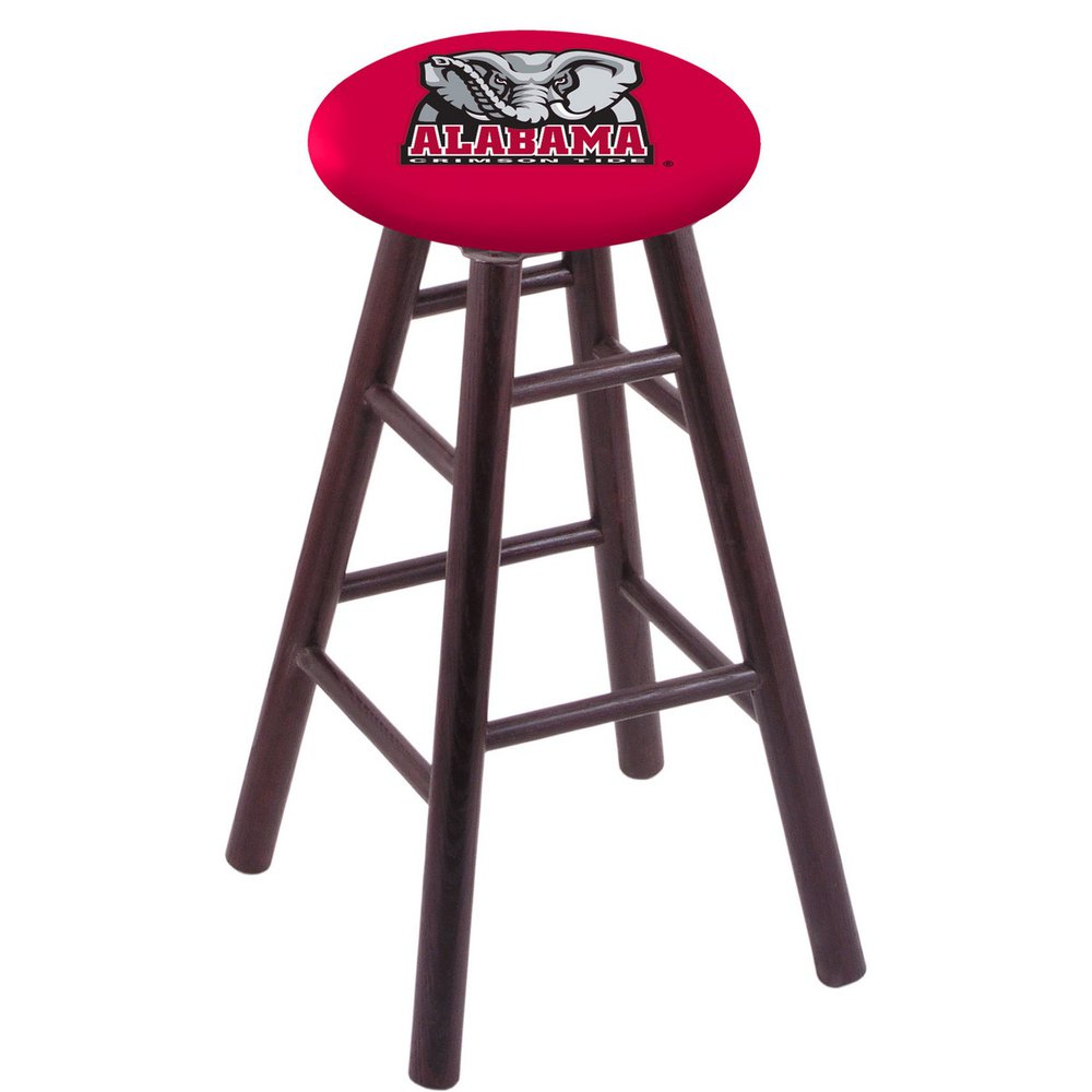 Oak Vanity Stool in Dark Cherry Finish with Alabama Seat. Picture 1
