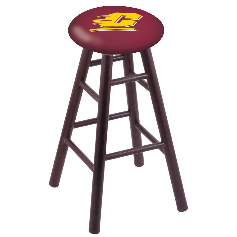 Oak Vanity Stool in Dark Cherry Finish with Central Michigan Seat. Picture 1