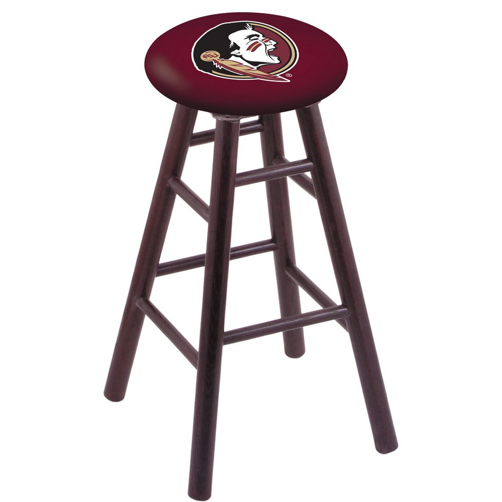 Oak Vanity Stool in Dark Cherry Finish with Florida State (Head) Seat. Picture 1
