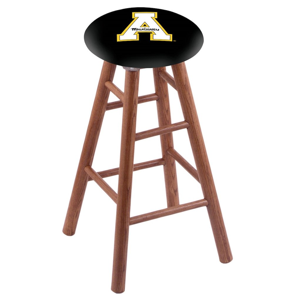 Oak Vanity Stool in Medium Finish with Appalachian State Seat. Picture 1
