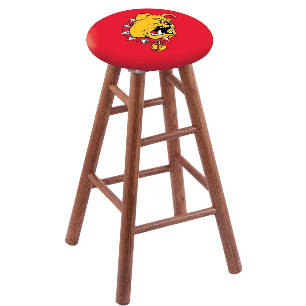 Oak Vanity Stool in Medium Finish with Ferris State Seat. Picture 1