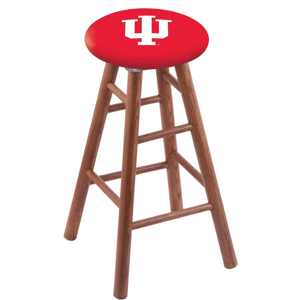 Oak Vanity Stool in Medium Finish with Indiana Seat. Picture 1