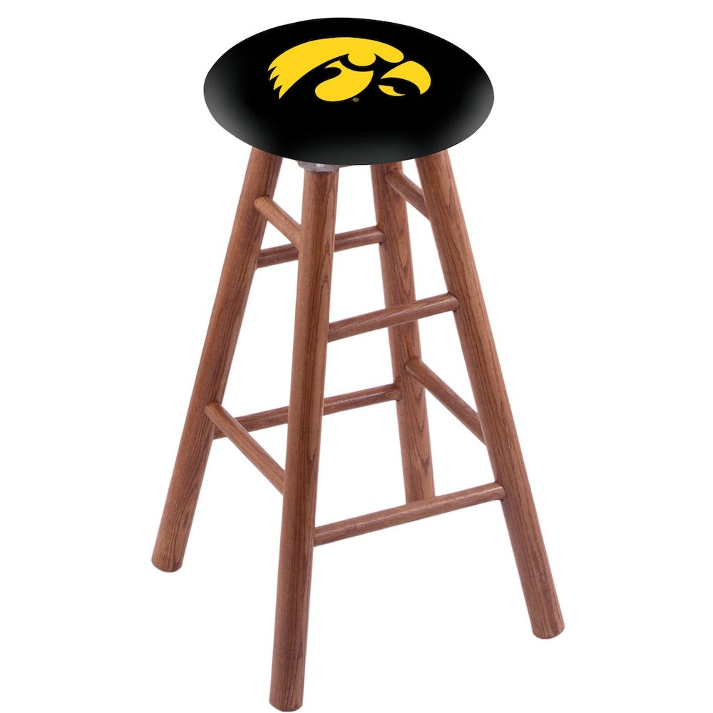 Oak Vanity Stool in Medium Finish with Iowa Seat. Picture 1