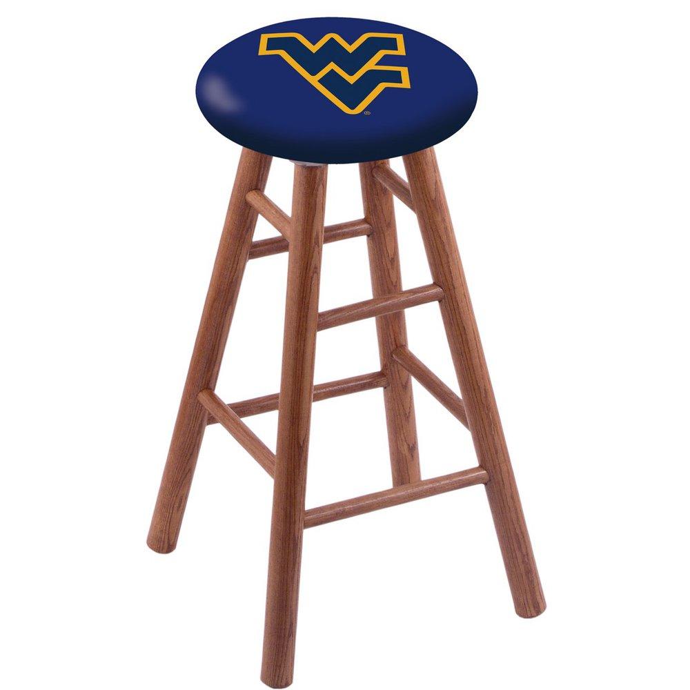 Oak Vanity Stool in Medium Finish with West Virginia Seat. Picture 1