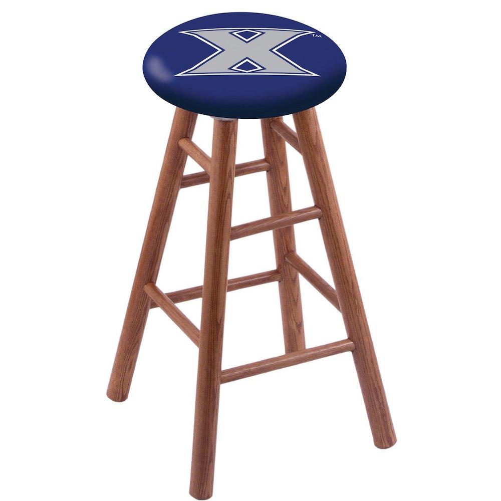 Oak Vanity Stool in Medium Finish with Xavier Seat. Picture 1