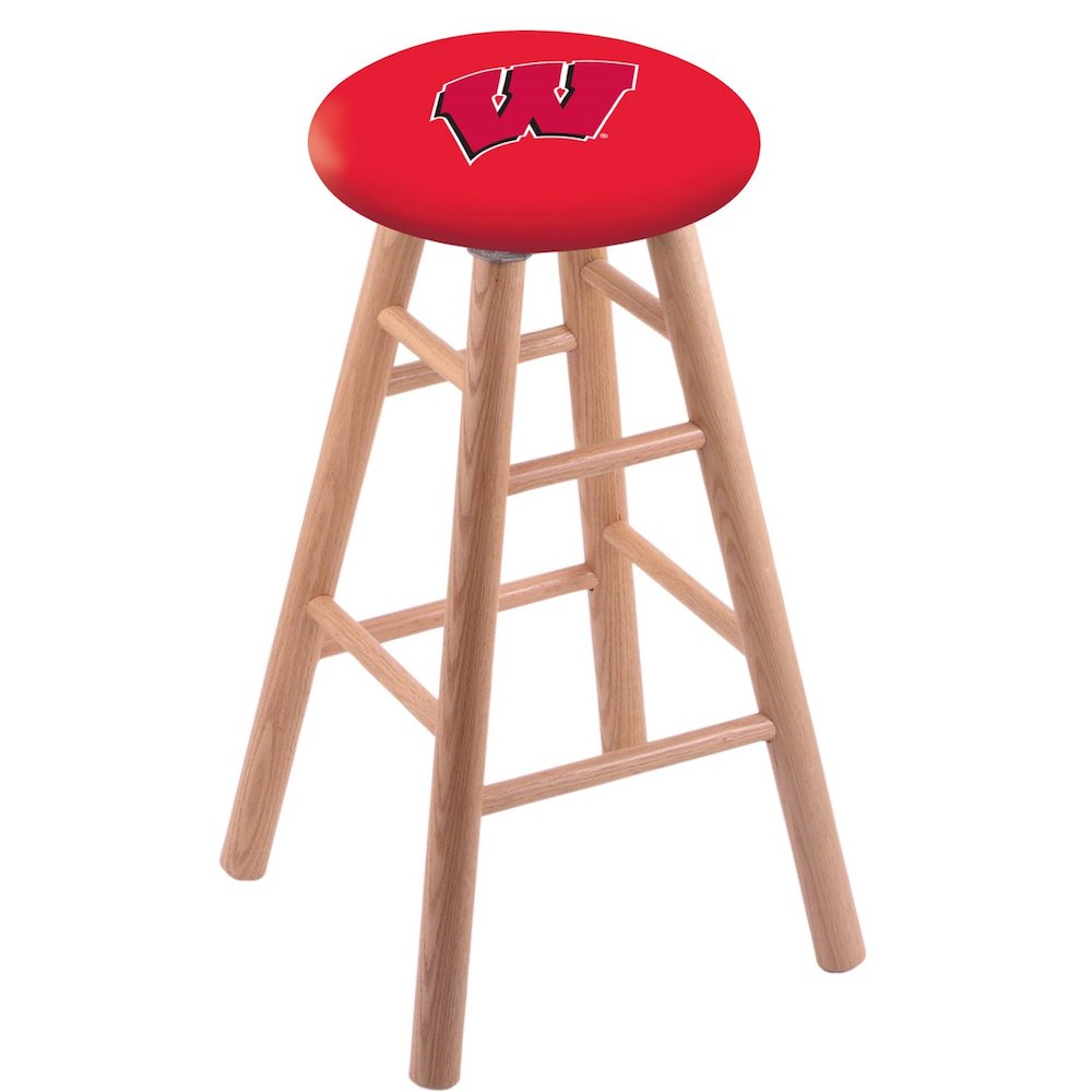 """Oak Vanity Stool in Natural Finish with Wisconsin """"W"""" Seat. Picture 1"""