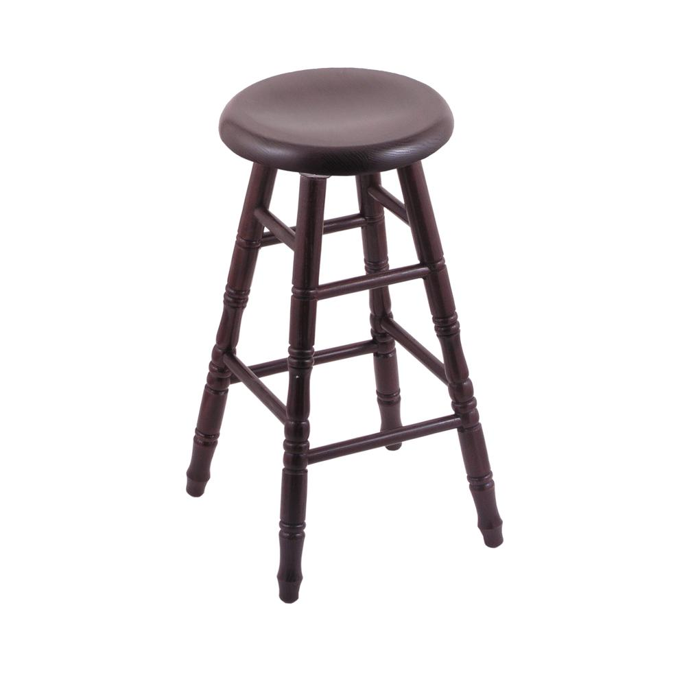 "Oak Saddle Dish 24"" Swivel Counter Stool with Turned Legs, Dark Cherry Finish. Picture 1"