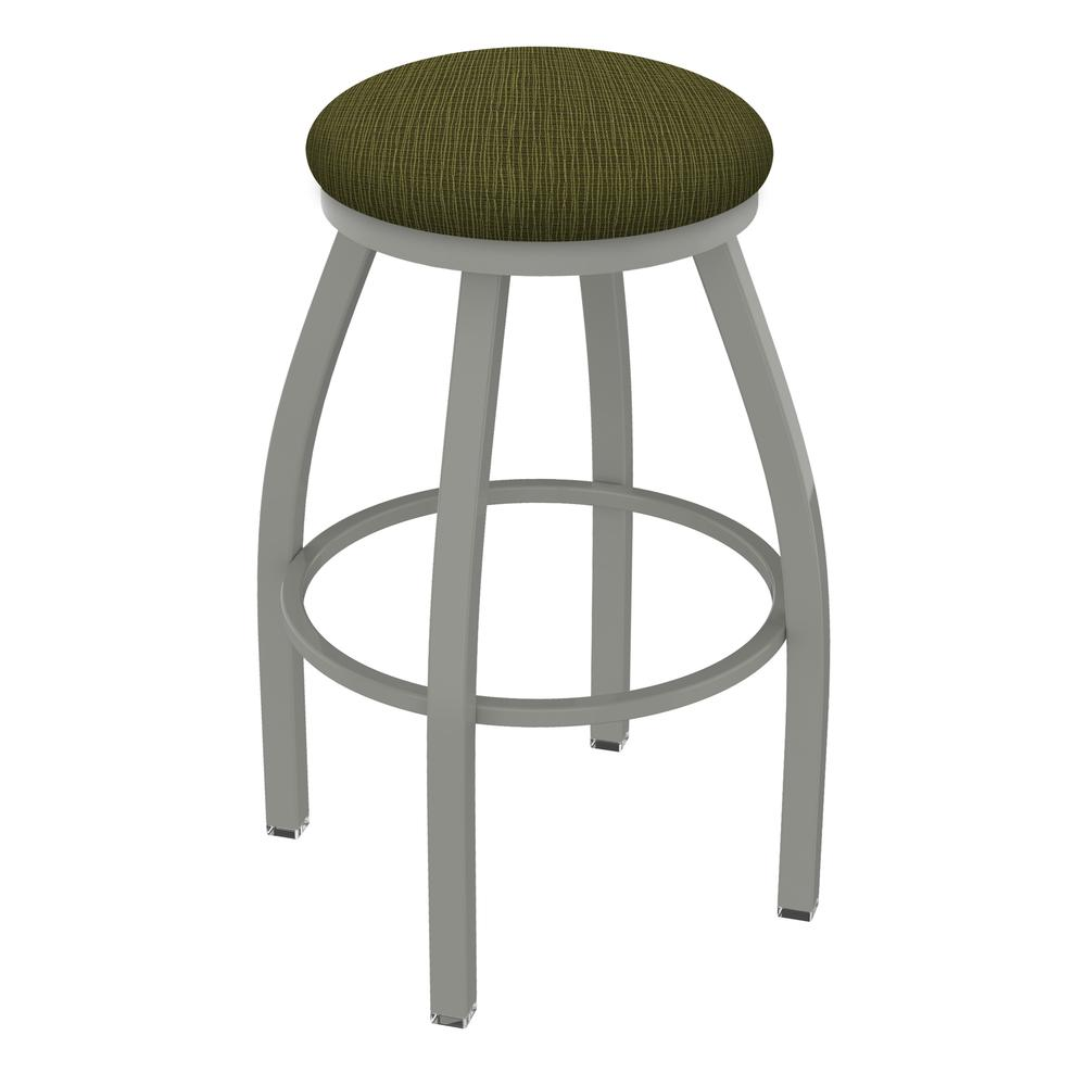 "802 Misha 36"" Swivel Extra Tall Bar Stool with Anodized Nickel Finish and Graph Parrot Seat. Picture 1"