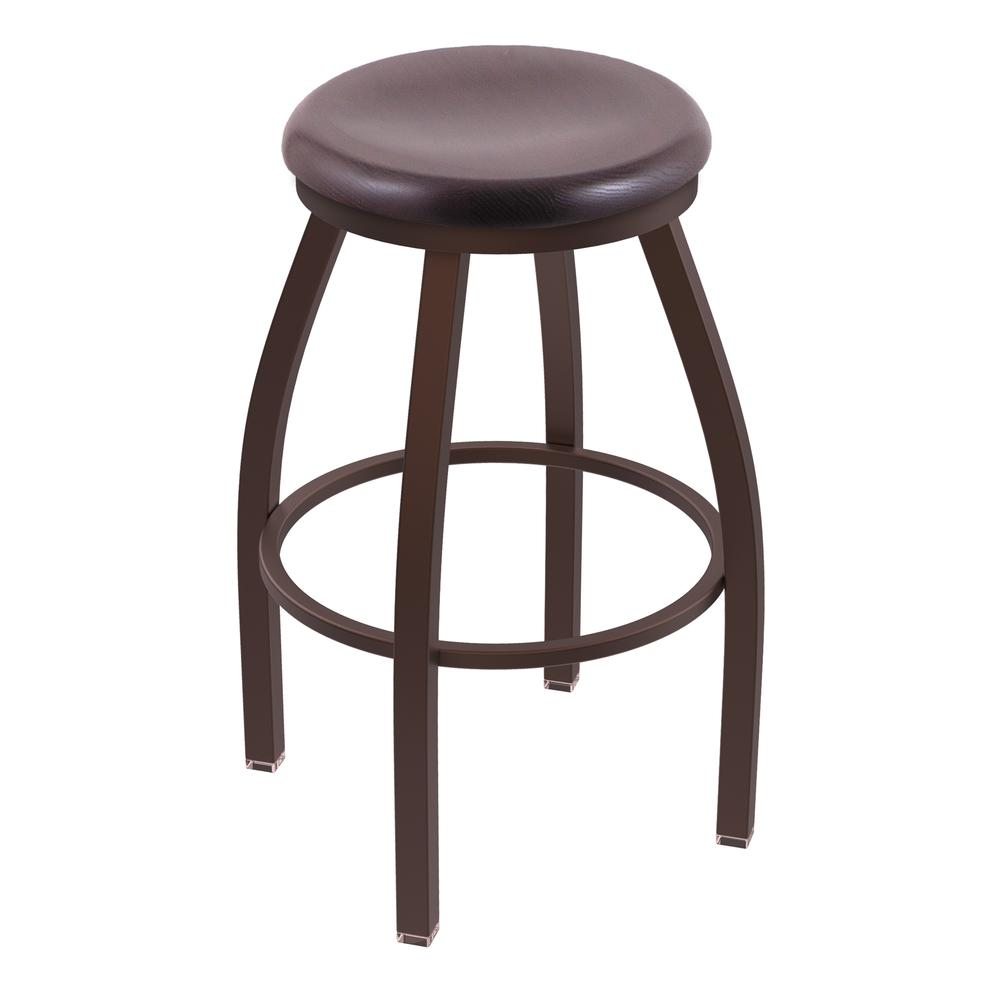 "802 Misha 36"" Swivel Extra Tall Bar Stool with Bronze Finish and Dark Cherry Oak Seat. Picture 1"