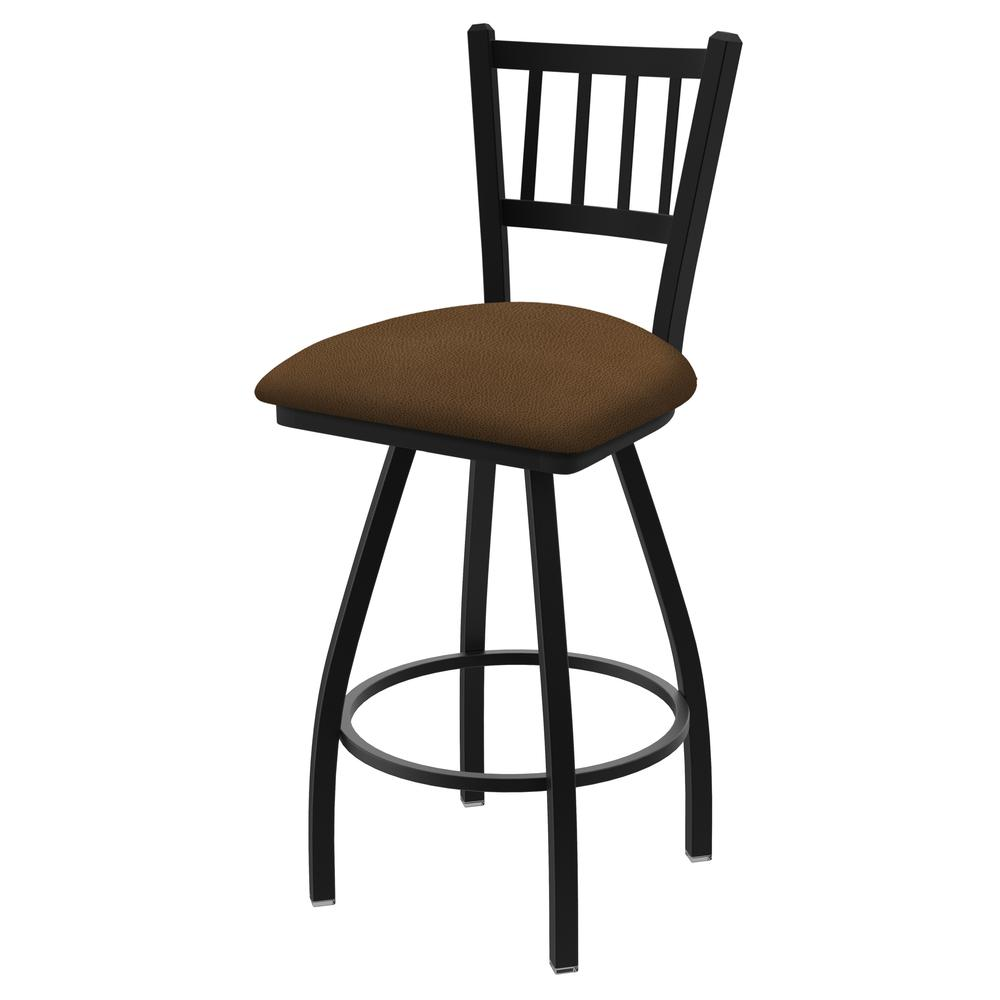 "810 Contessa 36"" Swivel Bar Stool with Black Wrinkle Finish and Rein Thatch Seat. Picture 1"