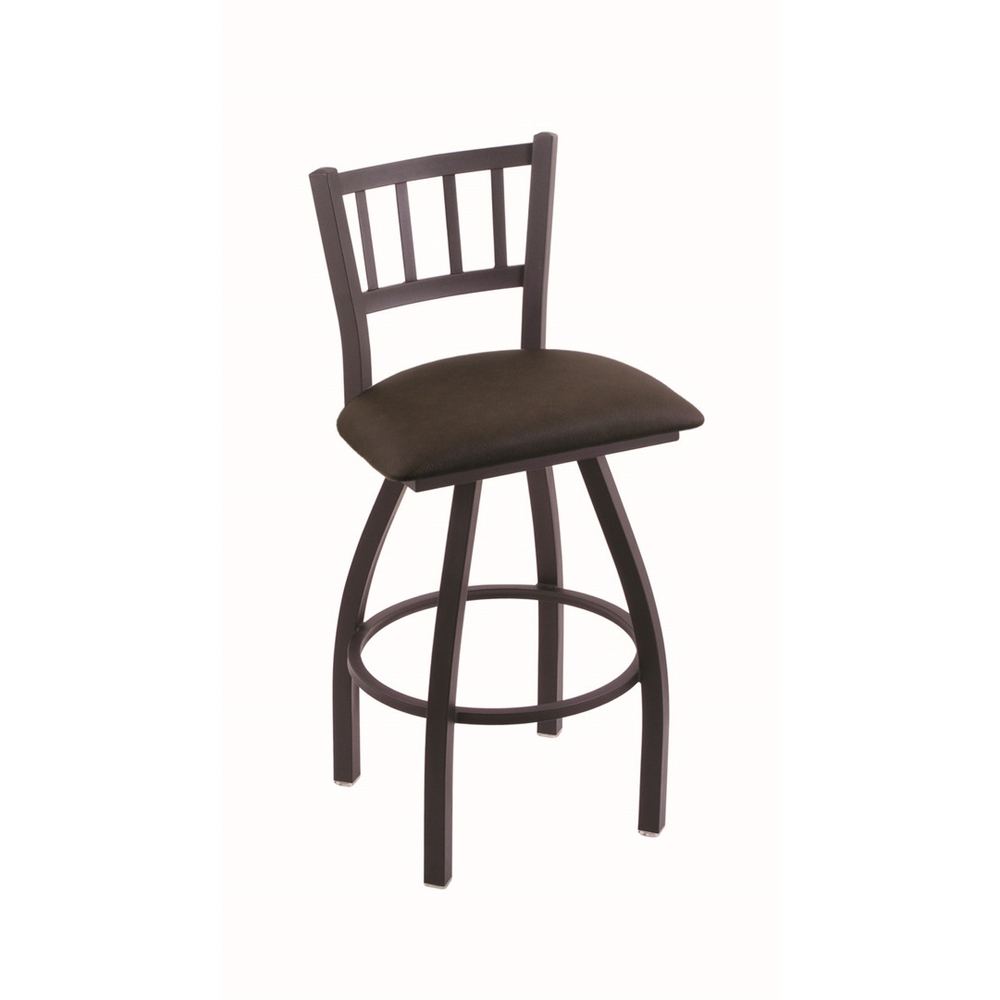 """XL 810 Contessa 30"""" Swivel Bar Stool with Black Wrinkle Finish and Rein Coffee Seat. Picture 1"""
